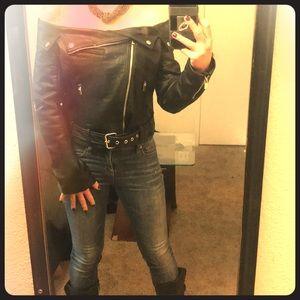 Guess off-shoulder black leather jacket